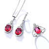 BS009 fashion white gold plated red crystal zircon brass jewelry sets for women