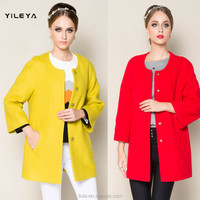 round collar and ninth sleeve designed red winter coats, fashion winter coats for girls