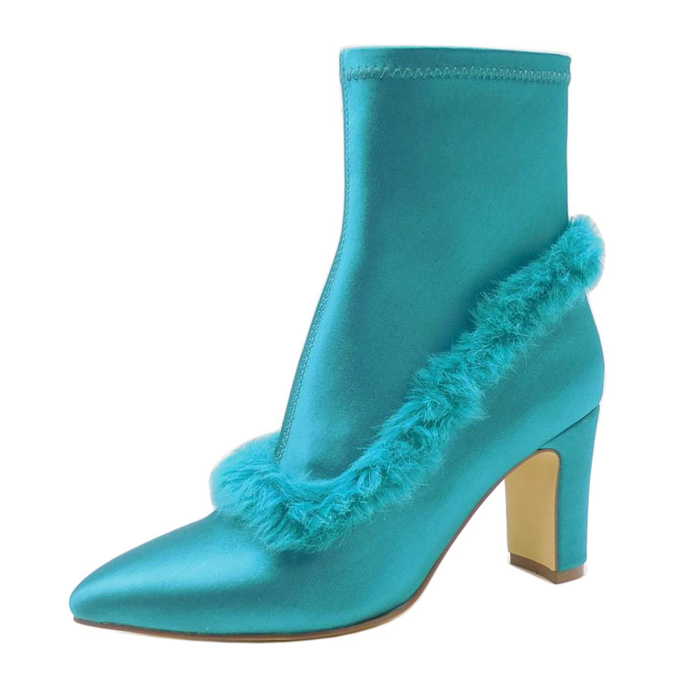 Custom Design 2017 Fashion Rubber PU Spandex Fabric Fur Pointed Toe High Heel Green Boots for Ladies
