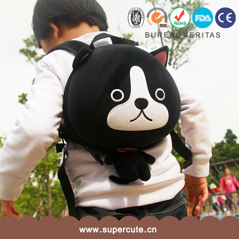 Hot selling customized brand black dog design so cute fashion backpack