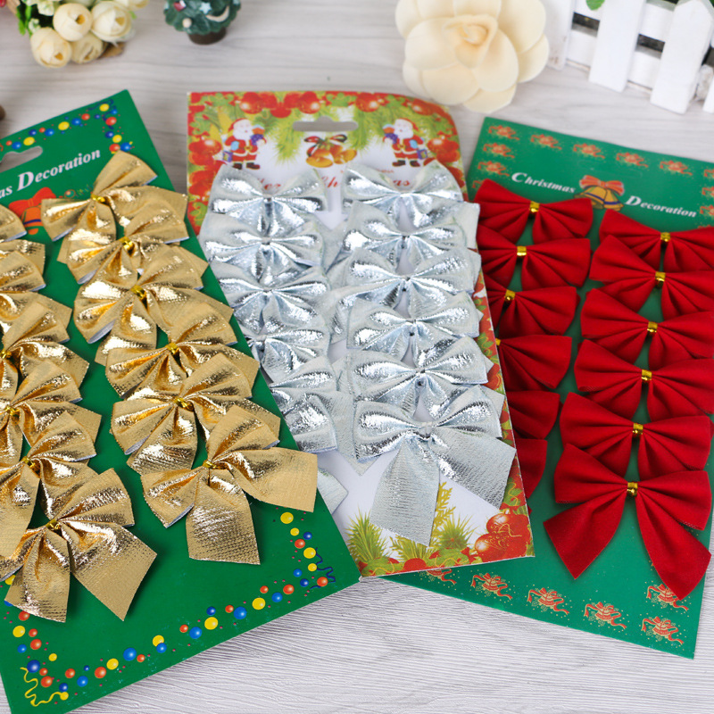 New Trend 12PCS/Pack Christmas Tree Decoration Bowknot Ornament