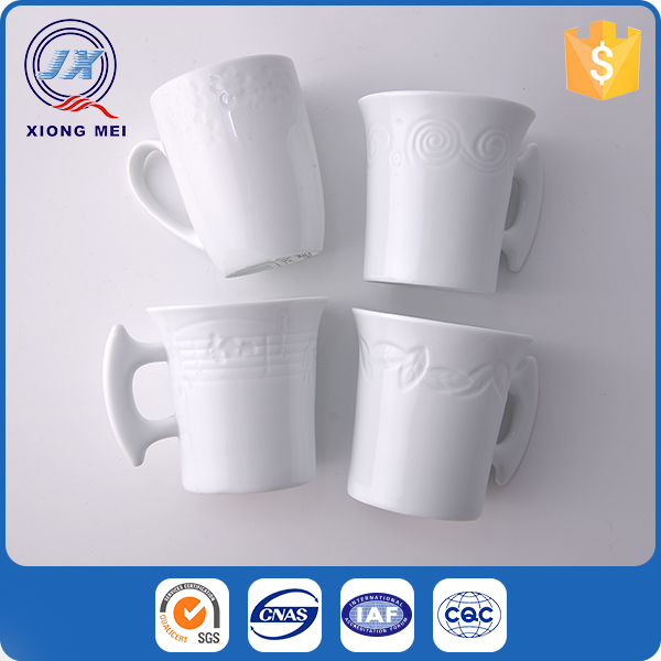 Wholesale Cheap Coffee Cup Novelty Embossed Design Custom Mugs Ceramic