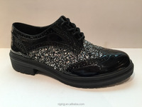 new style glitter pu brogue style flat tie shoes for women