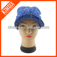 Blue Acrylic knitted winter visor hat