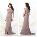 2014 high neck cap sleeve bead embroidered evening dress