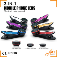 3 in 1 Fish Eye Wide Angle Macro Fisheye Lens Lente Mobile Phone Lens For iPhone 4 5 6 Samsung galaxy note 2 3 4 S4 Camera Len