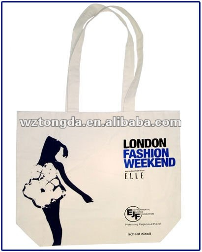 canvas tote bag with outside pockets(WZ1873)