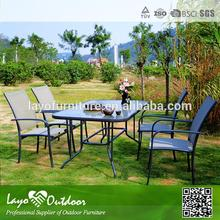 ISO 9001 factory hand woven sling furniture outdoor designer dining tables and chairs