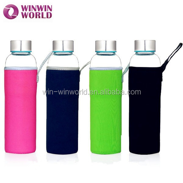 LFGB Promotional Christmas Gift Portable Glass Water Bottle With Pouch