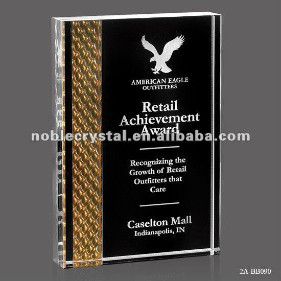 Crystal Book Trophy with Custmer's Logo Color Printing