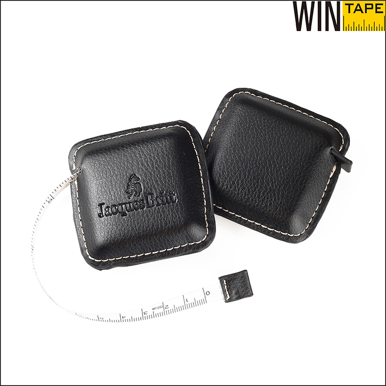 Square Emboss Your Logo Genuine Tape Measure Leather Case For Promotional Gift