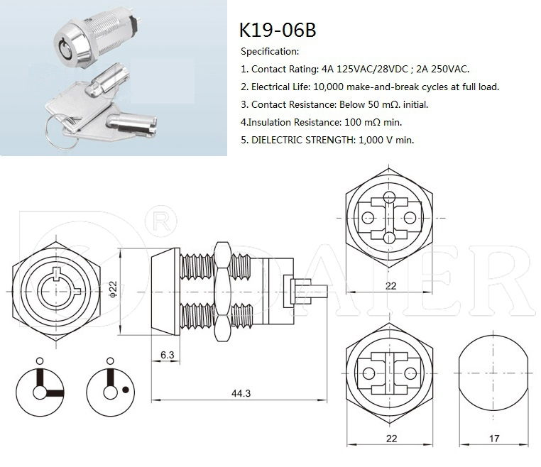 electrical key switch, key lock switch