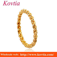 Yellow gold O rings alloy metal braided ring simple design gay men rings without stone