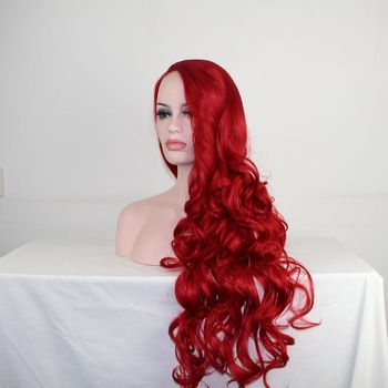 extra thick pink heat resistant synthetic fiber lace front wigs