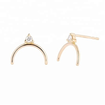 Minimalist 14k solid gold diamond stud geometric earrings