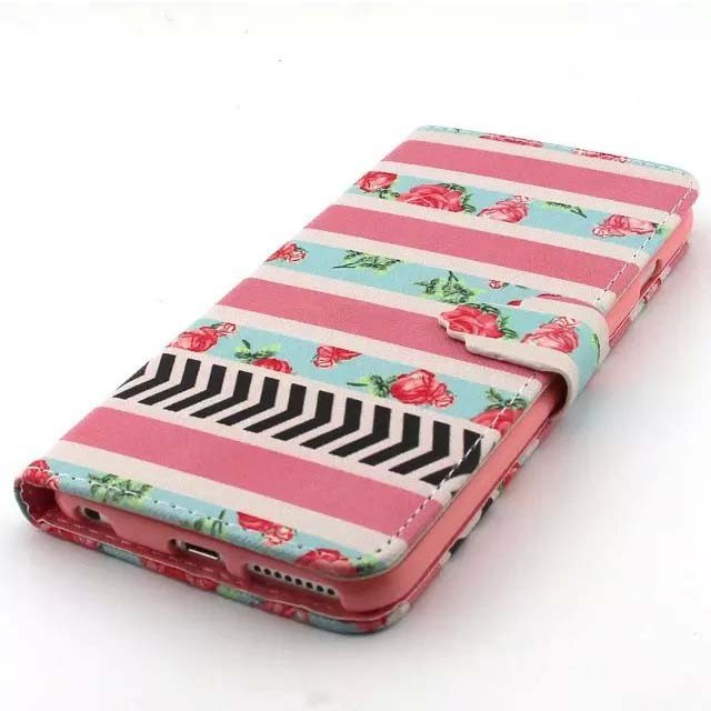 Cute Painting Pattern PU Leather Folio wallet Phone Case for Apple iPhone 6 Silicon Cover