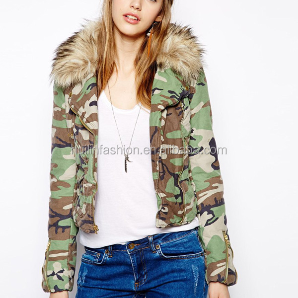 2014 new arrival womens army woodland camouflage jacket