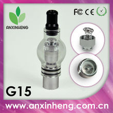 2014 heating style vaporizer G15 glass globe dry herb wax vaporizer,heating coil with metal spring cap