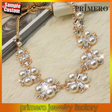 Latest Design Pearl Beads Gem Crystal Flash Clavicle Collar Chain Statement Necklace