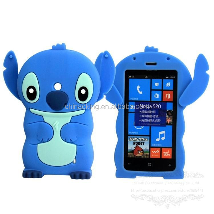 Lovely 3D Cartoon Model Soft Rubber Skin Silicon Silicone Cute Stitch Case Cover for NOKIA Lumia 520 N520 with Movable Ear