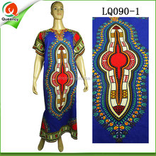 fashion women dubai kaftan clothing royal blue ladies dresses with african wax printed fabric pattern