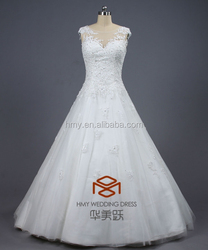New Arrival Top Quality China Factory Made Chic Beadings Lace Princess Wedding Dress HMY-D444 Sexy Charming Wedding Gown