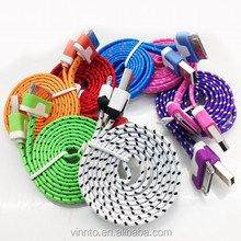 Mobile Phone Accessories, Colorful Flat Noodle Cable Micro Braided USB Power Cable