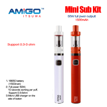 mini sub kit 0.3-3ohm 18650 battery vaporizer e-cigarette