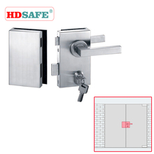 Commercial Stainless Steel Double Swing Glass Door Locks With lever