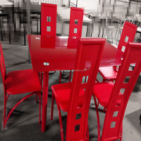 Featured Red color Tempered Glass 7PCS dining set home furniture