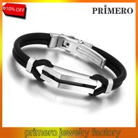 PRIMERO 2015 New arrival vintage men's jewelry 316L titanium steel stainless steel fashion Silicone bracelets bangle for men