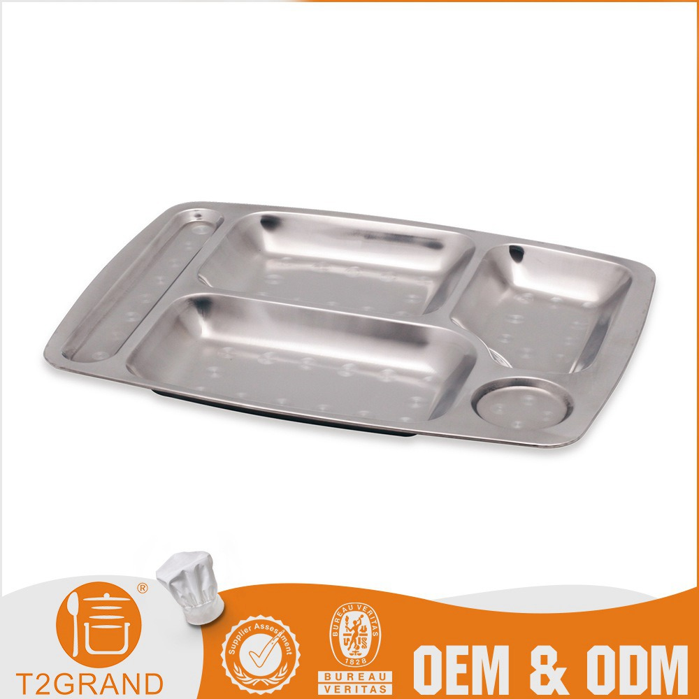 Durable Divided Stainless Steel Square Tableware Food Tray With 5 Compartments