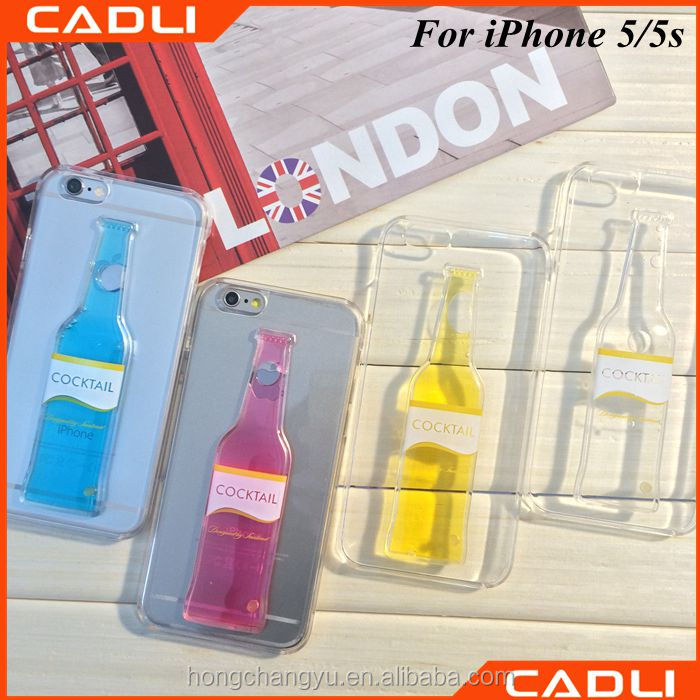 factory price newest popular clear 3d liquid mobile phone case for iphone 5