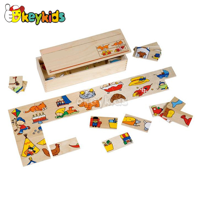 2016 wholesale baby wooden domino puzzle toy, most popular kids wooden domino puzzle toy, wooden domino puzzle toy W15A056