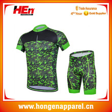 Hongen apparel high quality sublimation green battle fatigues cycing jersey with hidden zip