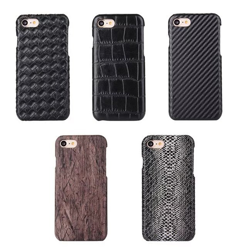 Carbon Fibre Snake Crocodile Wood Pattern PU Skin PC Hard Back Cover Case For iPhone 7 & 7 Plus