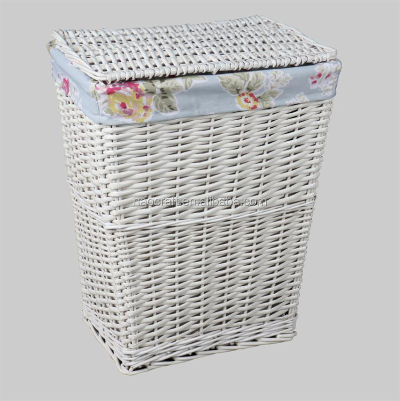 High quality white wicker laundry basket hamper with linen lid
