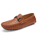 Alligator skin Driving loafers Soft Flats Heel Plush Loafers Flexible Round Toe Man Split Cow Leather Outdoor Male Boy Shoes
