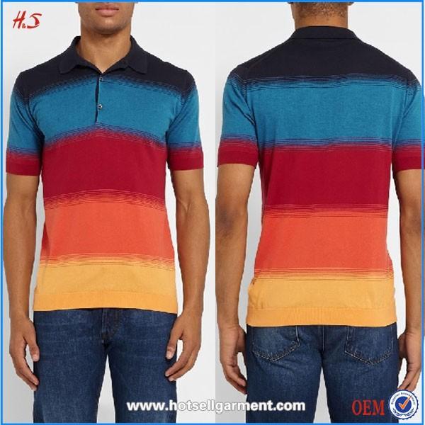 Colourful Striped T Shirt Wholesale Polo Shirt 100 Cotton