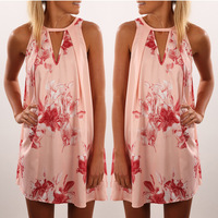 B11975A Hot sale lady flower printed sleeveless A line dress