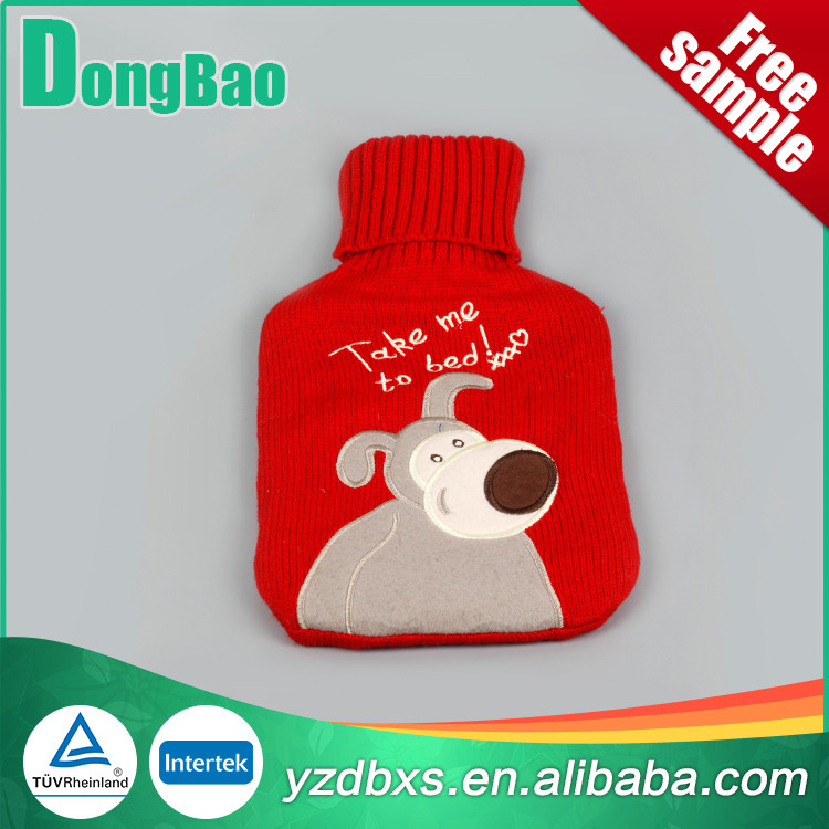 2000ml red knitted hot water bottle cover with dog