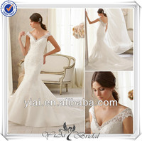 QQ131 Fashion Sleeveless V-neckline Off Shoulder White Lace Bridal Wedding Dress With Open Back
