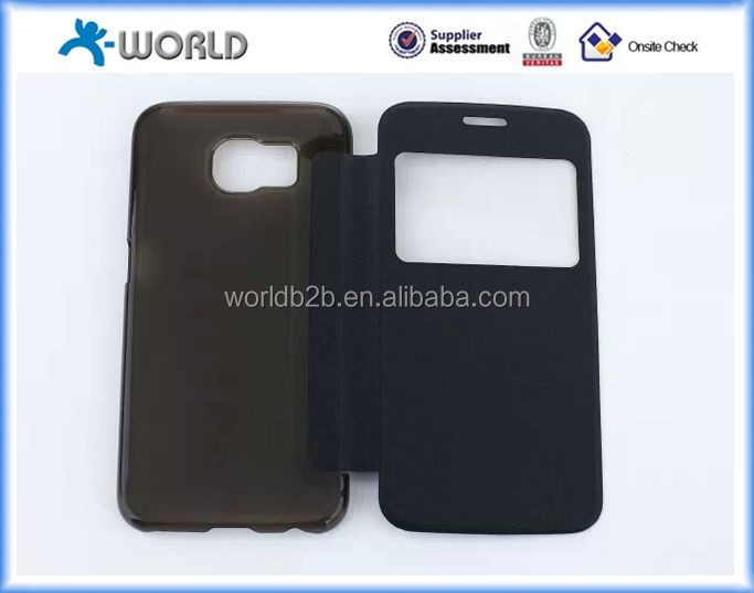 Slimline Folio Case for Samsung S6 with Window,Back is Clear PC Case