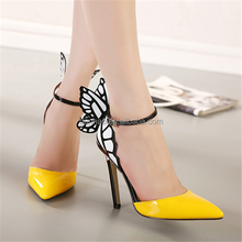 2016 Ladies Butterfly Wings Designs High Heel Sexy Dress Shoes