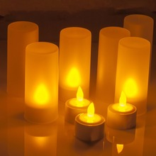 Rechargeable LED candle Light Tealights Candles Yellow with Remote Control Holder Charger Flickering Flameless