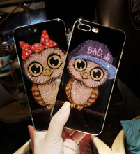 Chinese Custom Infinix Crystal Diamond Shiny Owl Printer Mobile Cell Cover Glitter Bling Bling Phone Case For Iphone 8 8Plus