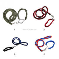 Unisex Strong Large Dog Lead Pet Braided Traction Rope Leash Collar Set For Big Dogs
