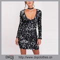 Stylish Cocktail Dresses DiQi Factory Custom Gorgeous Shine Bright Plunge Sequin Shift Dress
