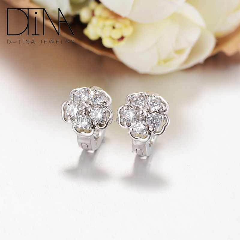 Fashion <strong>point</strong> of platinum plating girl flower earrings