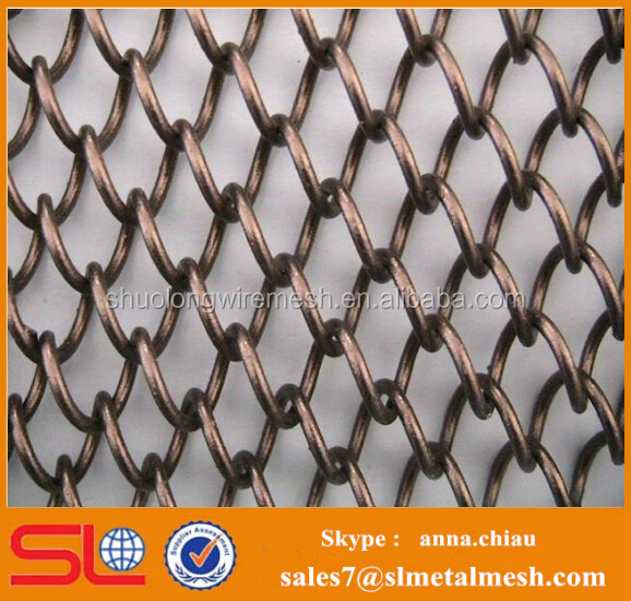 Partition Wall Wire Mesh Curtain / Stiff Bronze Metal Mesh Fabric